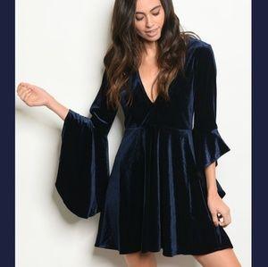 NEW Navy Velvet Bell Sleeve Fit & Flare Dress